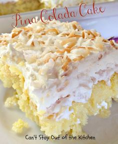 Pina Colada Poke Cake ~ Moist and delicious... one of the most scrumptious cakes you will ever taste.