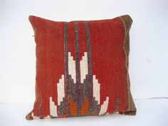 "16"" boho interior turkish cushion throw pillow kilim pillow decorative pillow cover accent pillow outdoor floor sham bohemian deco"