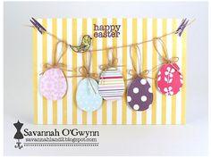 Easter Eggs on a clothesline. Super cute project by Savannah O'Gwynn.