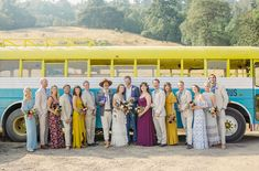Northern California Mendocino Hippie Wedding with a Rockin' Transportation Bus. Neon Colors. Colorful Bridal Party.