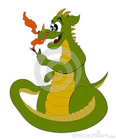 Funny green and yellow cartoon dragon firing a match isolated on a white background