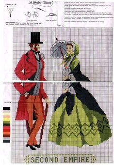 0 point de croix mode femme homme époque second empire - cross stitch woman and man fashion era second empire