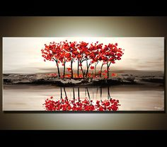 Original abstract art paintings by Osnat - red blooming trees on white textured landscape painting