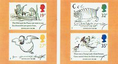 Books and Authors on Postage Stamps    ---  Great Britain issued four stamps on 6 September 1988 to commemorate the centenary of the death of Edward Lear, the writer of nonsense verse. The stamps all feature drawings by Lear and are inscribed EDWARD LEAR 1812-1888.