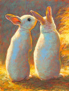 """Bunny Secrets""  (pastel, 12x9 inches)   Day 15 of my 30 paintings in 30 days of November!   I'm half-way there! Whew! It feels like I've ..."