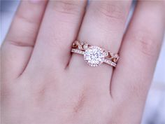 14k Rose Gold 6.5mm Round Charles & Colvard Moissanite Ring Solid Ring Wedding Ring Moissanite Ring with Wedding Band Ring Set by DupuyJewelry on Etsy https://www.etsy.com/listing/481560519/14k-rose-gold-65mm-round-charles-colvard