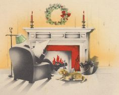 Yuletide By The Fireside: C. Sharp On The Christmas Pipe Tradition - Ivy Style Christmas Fireplace, Cozy Christmas, Ivy Style, Golden Age, Pipes, Traditional, Painting, Art, Art Background