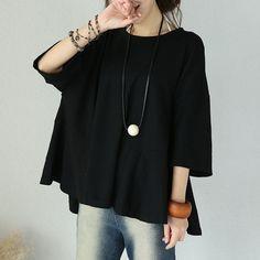 Cotton Round Neck Loose Casual Black Shirt – Buykud