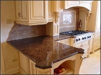 "Half Bevel Granite Edge | half bullnose & full height backsplash. (45) 1 1/4"" Labrador Antique ..."