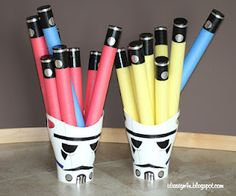 Storm Trooper {trash cans}... perfect for a Star Wars party :)