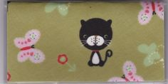 """Cartoon Black Cat and Butterfly Whimsical Checkbook Cover by Tickled Pink Boutique. $5.00. Fun and functional for every day use without paying a designer price for a designer name!  The sturdy clear plastic lightweight VINYL COVER encases a fabric bonded design. Measuring 6 1/4"""" x 3 1/4"""",  the cover fits all standard bank checkbooks and banking registers.  All checkbook covers come with a register flap and a duplicate check flap  just like the bank, only flashier.  Thes..."""
