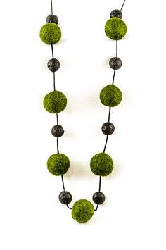 Extra Long Beaded Necklace Green and Black Chunky by DevikaFelt, €20.00