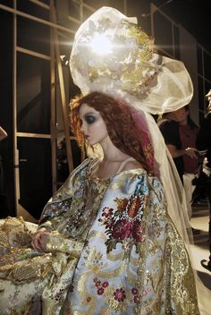Lily Cole backstage at Christian Lacroix haute couture, Fall 2007.