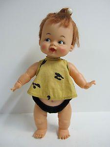 "Hanna Barbera Flintstones Pebbles Toddler Version Doll 15"" by Ideal Toy 1963"