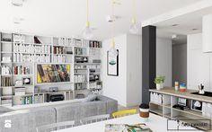 mieszkanie_Warszawa Praga - Mały salon z kuchnią z jadalnią, styl nowoczesny - zdjęcie od Twój Kwadrat