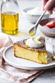 Gluten-Free Olive Oil Cake gets a flavor boost from lemon zest and almond flour, keeping it grain-free and dairy-free to boot. Enjoy this incredibly moist, tender, springy cake on its own, or serve it up with whipped cream and fresh spring berries. Flour Recipes, Gluten Free Recipes, Cake Recipes, Dessert Recipes, Sweet Recipes, Gf Recipes, Paleo Dessert, Paleo Sweets, Healthy Desserts