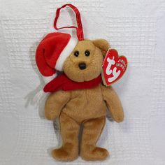 1997 Holiday Teddy Ty Jingle Beanies Collection Brown Teddy Bear Santa Hat #Ty