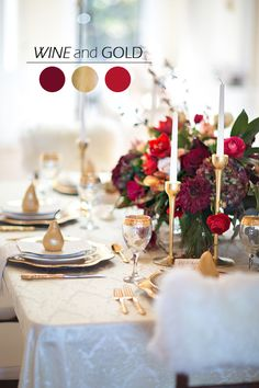 wine red and gold christmas wedding color palettes for 2015