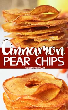 Check out these tasty Cinnamon Pear Chips made with just 2 ingredients. So incredibly delicious, they are sure to disappear as fast as you can make them. Pear Dessert Recipes, Fruit Recipes, Just Desserts, Fall Recipes, Delicious Desserts, Snack Recipes, Yummy Food, Recipes With Pears, Pear Recipes Healthy