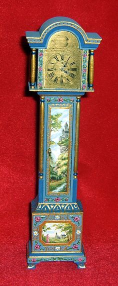 Dollhouse Miniature Hand Painted Grandfather Tall Case Clock Leslie Lassige