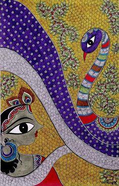 Madhubani painting, Indian folk art by Bharti Dayal Madhubani Paintings Peacock, Kalamkari Painting, Madhubani Art, Indian Paintings, Gond Painting, Krishna Painting, Kunst Der Aborigines, Indian Folk Art, India Art