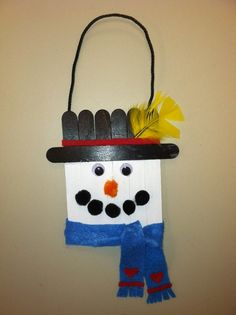Craft stick snowman door hanger