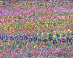 Margaret Kemarre Ross Bush Flowers and Bush Medicine Plants Acrylic on linen, 76 x 61cm Artists of Ampilatwatja Eastern Desert, NT. For more Aboriginal art visit us at www.mccullochandmcculloch.com.au #aboriginalart #australianart #contemporaryart