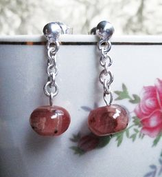 New earring model Pink Panter. Silver 950 and natural stone Rodocrosita. #HandMade
