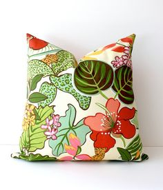 Green and pink floral pillow cover