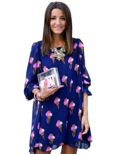 Fashion Blue Cone Printed 3/4 Sleeves Loose Mini Dress