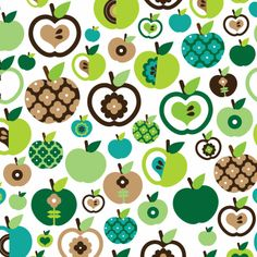 APPLE/FLOWER_Cute retro green apple fruit pattern for kids or get well wishes. The apples are filled with other patterns, flowers, dots and shapes of heart. Pretty Patterns, Beautiful Patterns, Textures Patterns, Fabric Patterns, Motif Vintage, Fruit Pattern, Surface Pattern Design, Pattern Wallpaper, Decoupage