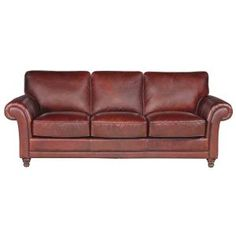 """Foster"" 98"" Brown Leather Sofa $1,799.99"