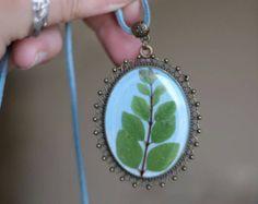 Blue Flower necklace delphinium dried flowers by sincereworkshop