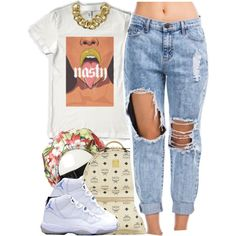 A fashion look from July 2014 featuring crop top, cutout jeans and black sneakers. Browse and shop related looks.
