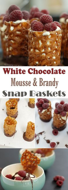 White Chocolate Mousse & Brandy Snap Baskets Brandy Snaps, White Chocolate Mousse, Pastry Art, High Tea, Chefs, Bourbon, Whiskey, Biscuits, Sweet Tooth