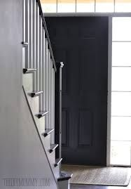 Image result for before and after door painting Black Entry Doors, Painted Doors, White Paints, Tall Cabinet Storage, Stairs, Wood, Image, Painting, Furniture