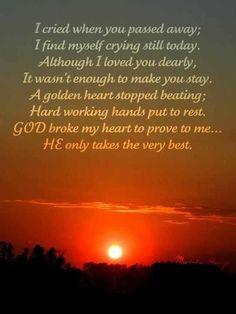 I still cry after all these years..my sister Lynda-April 4,1986, my Mom-March 30,2000, my sister Laura-July 22,2000, and my Dad-October 25,2011