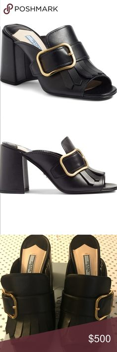 """PRADA Kiltie Fringe buckle strap Mule SOLD OUT Gorgeous! Worn inside ONLY ONCE for photo shoot. Sold out everywhere.. can Fit 8 & 8.5  ......................................................................................2017 Prada Kiltie fringe and an oversized buckle strap add refined appeal to an open-toe loafer set in a flared cupheel. Heel Style:Block/chunky 3 1/2"""" (85mm) heel (size 39) Leather upper, lining and sole Made in Italy Salon Shoes Prada Shoes"""
