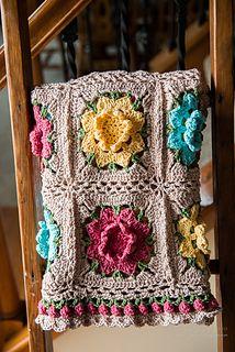 Crochet - Rebekah's Flower Afghan - Free pattern - Downloaded and printed