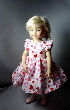 "Valentine Dress fits 13"" Dianna Effner Little Darling Doll Pink Red Lilac Hearts #Unbranded"