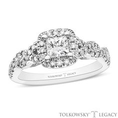 Tolkowsky®+Legacy+7/8+CT.+T.W.+Certified+Princess-Cut+Diamond+Frame+Engagement+Ring+in+14K+White+Gold+(I/SI2)