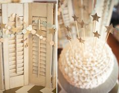 white cake with gold glitter stars Twinkle Twinkle Little Star :: Vintage Shutters + Cake :: Le Partie Sugar