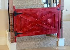 diy white country style baby gate wall to banister - Google Search