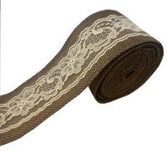 """3"""" Brown Burlap Ribbon With Ivory Lace 5 Yard Roll - Made in USA"""