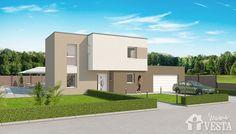 Maisons VESTA :  Modèle Gulliver (étage, style contemporain). Surface : 125m² + 49.69 m² surface annexe