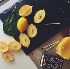 DIY: lemon beeswax candles
