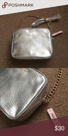 Victoria's Secret small shoulder bag New with tags - brand new! Silver with gold chain accents. Victoria's Secret Bags Mini Bags