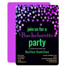 Faux Magenta Confetti Bachelorette Hen Party Card - invitations custom unique diy personalize occasions