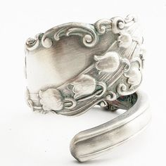 Unique Lily of the Valley Art Nouveau Sterling Silver Spoon Ring, Handcrafted in Your Size (911)