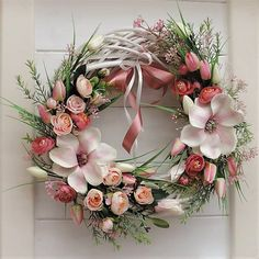 Large wreath on the door with magnolia, tulips, scarves and other decorative material. Spring Decoration, Fall Door Decorations, Felt Wreath, Diy Wreath, Easter Wreaths, Holiday Wreaths, Frame Wreath, Summer Wreath, Floral Arrangements
